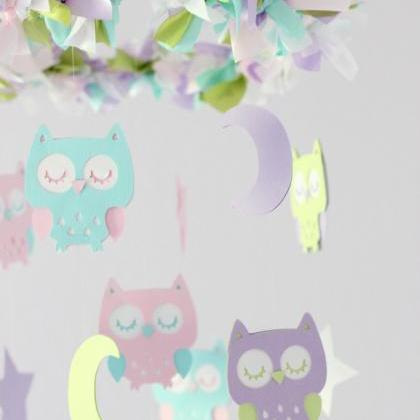 Owl Nursery Mobile in Lavender, Gre..
