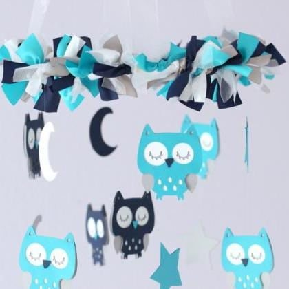 Owl Nursery Mobile in Turquoise, Na..
