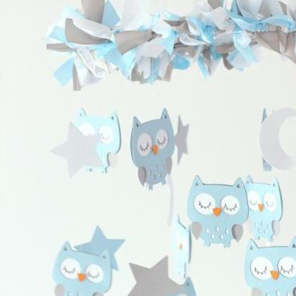 LARGE Owl Nursery Mobile in Baby Bl..