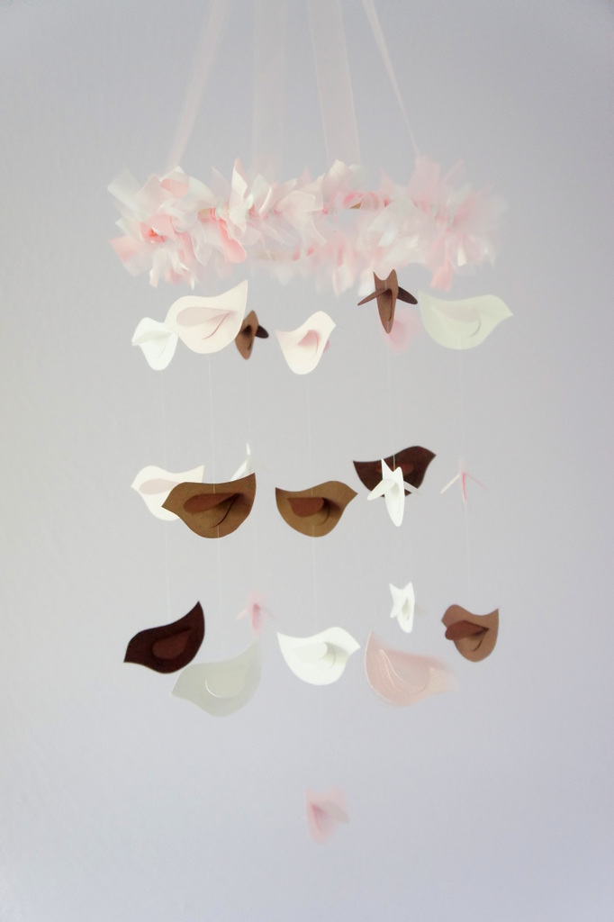 SMALL Bird Nursery Mobile in Brown, Pink & White
