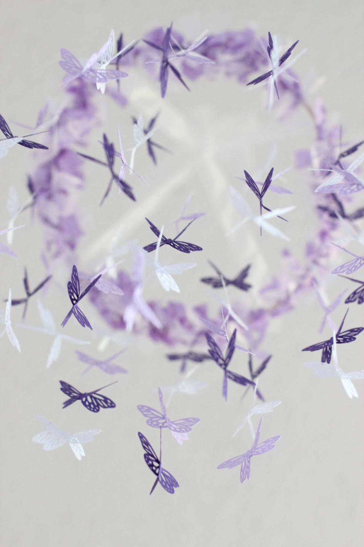 Butterfly Mobile - Purple, lavender, and white nursery mobile