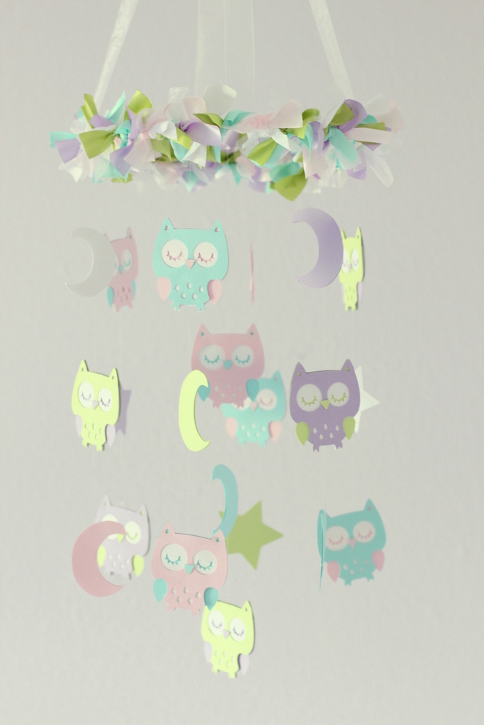 Owl Nursery Mobile in Lavender, Green, Baby Pink, Tropical Blue & White