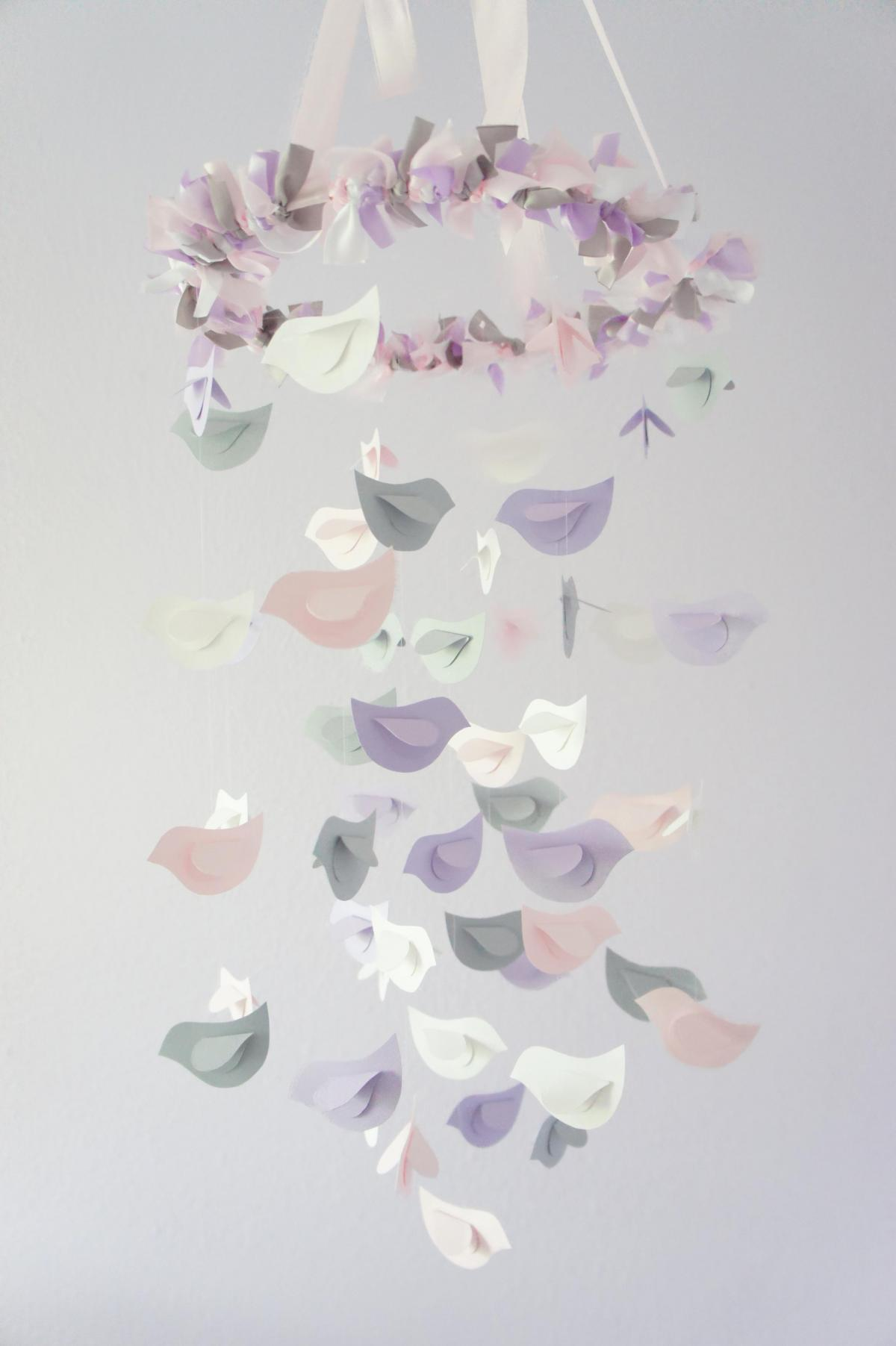 Nursery Decor Mobile Lavender Baby Pink Gray White Birds