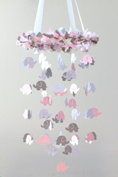 Light Pink, White & Gray Girl Elephant Nursery Mobile