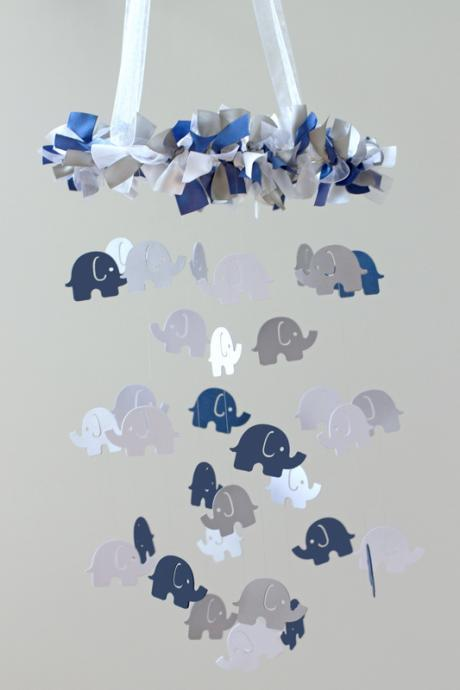 Elephant Nursery Mobile- Navy Blue, Gray & White