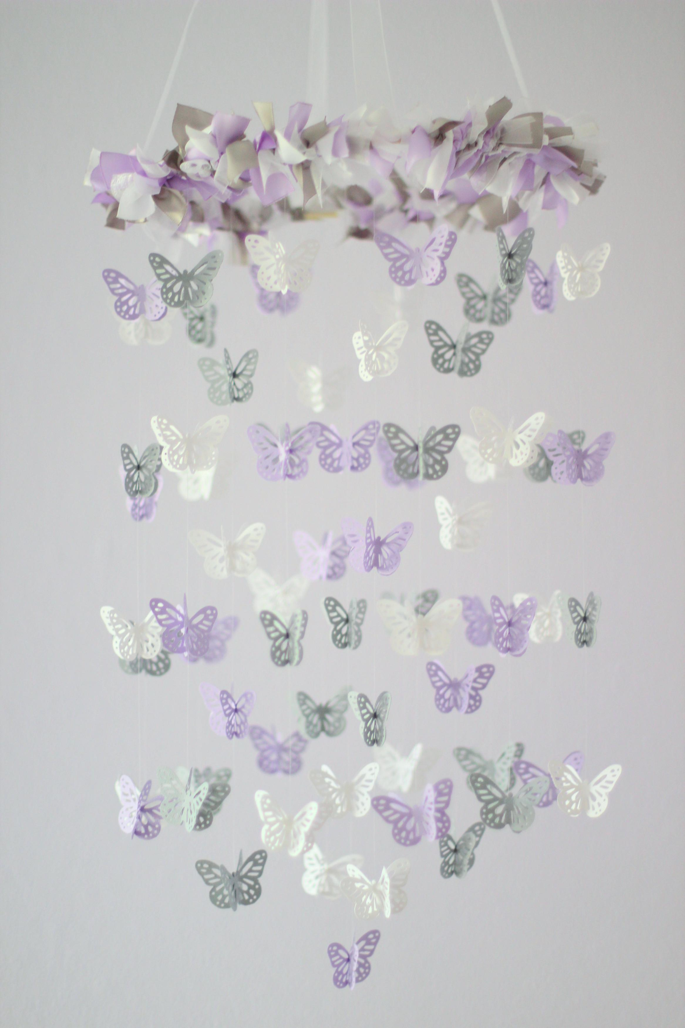 Pastel Nursery Mobile  Elephants U0026 Butterflies Baby Shower Gift