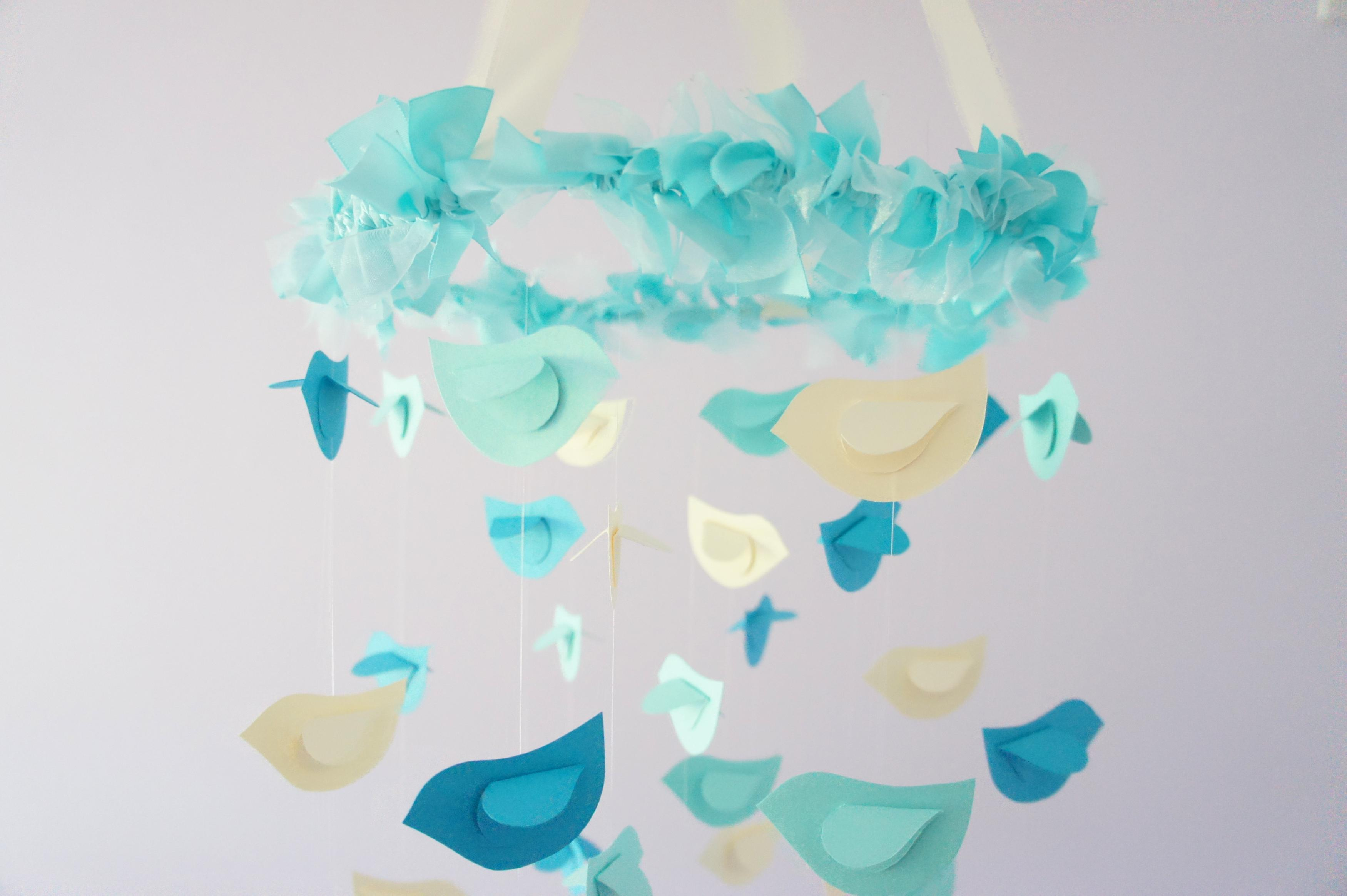 Aqua Nursery Mobile Birds In Ivory Turquoise Decor Baby Shower Gift