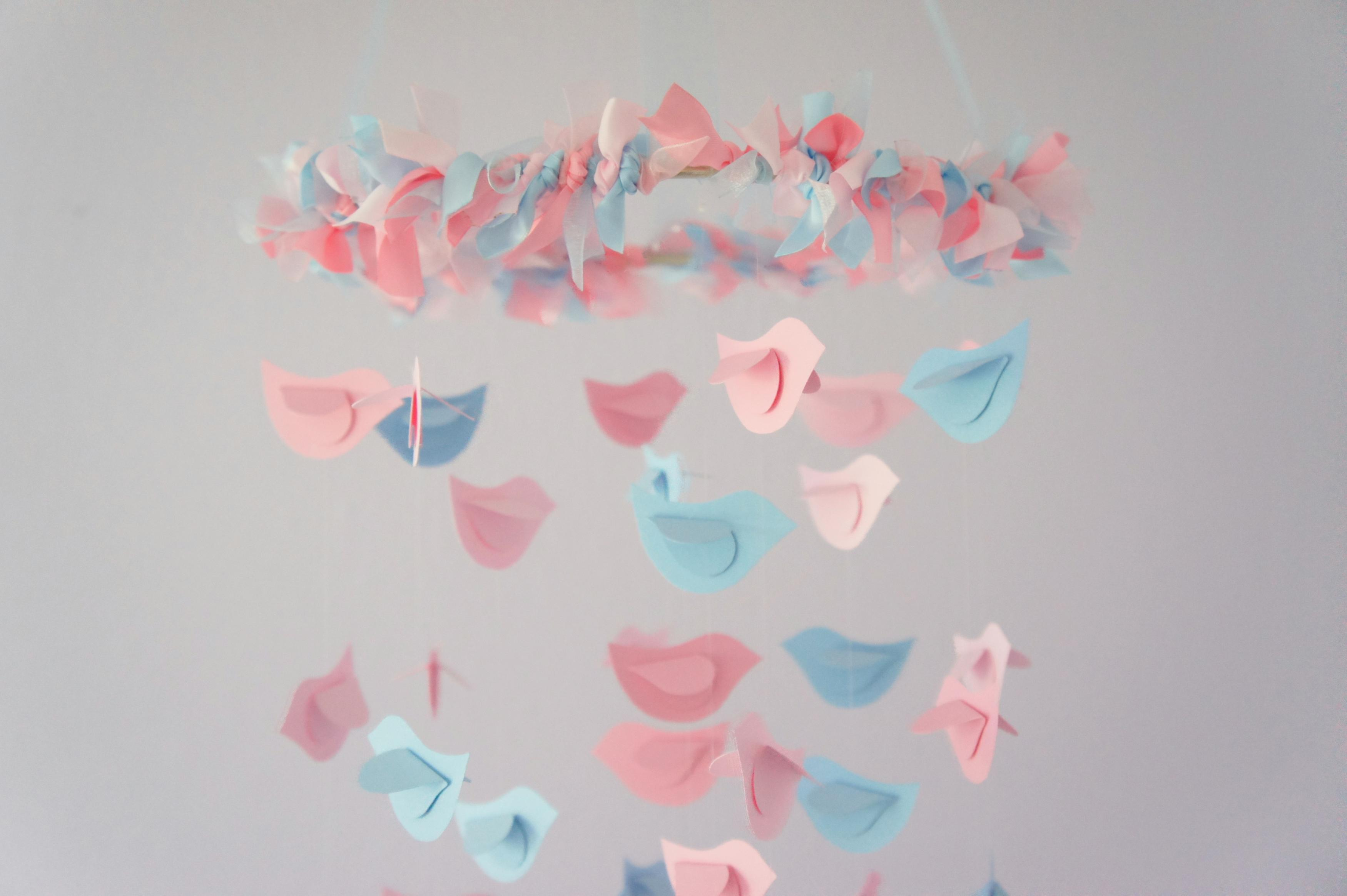 Pink Blue Nursery Mobile Bird Decor Baby Shower Gift