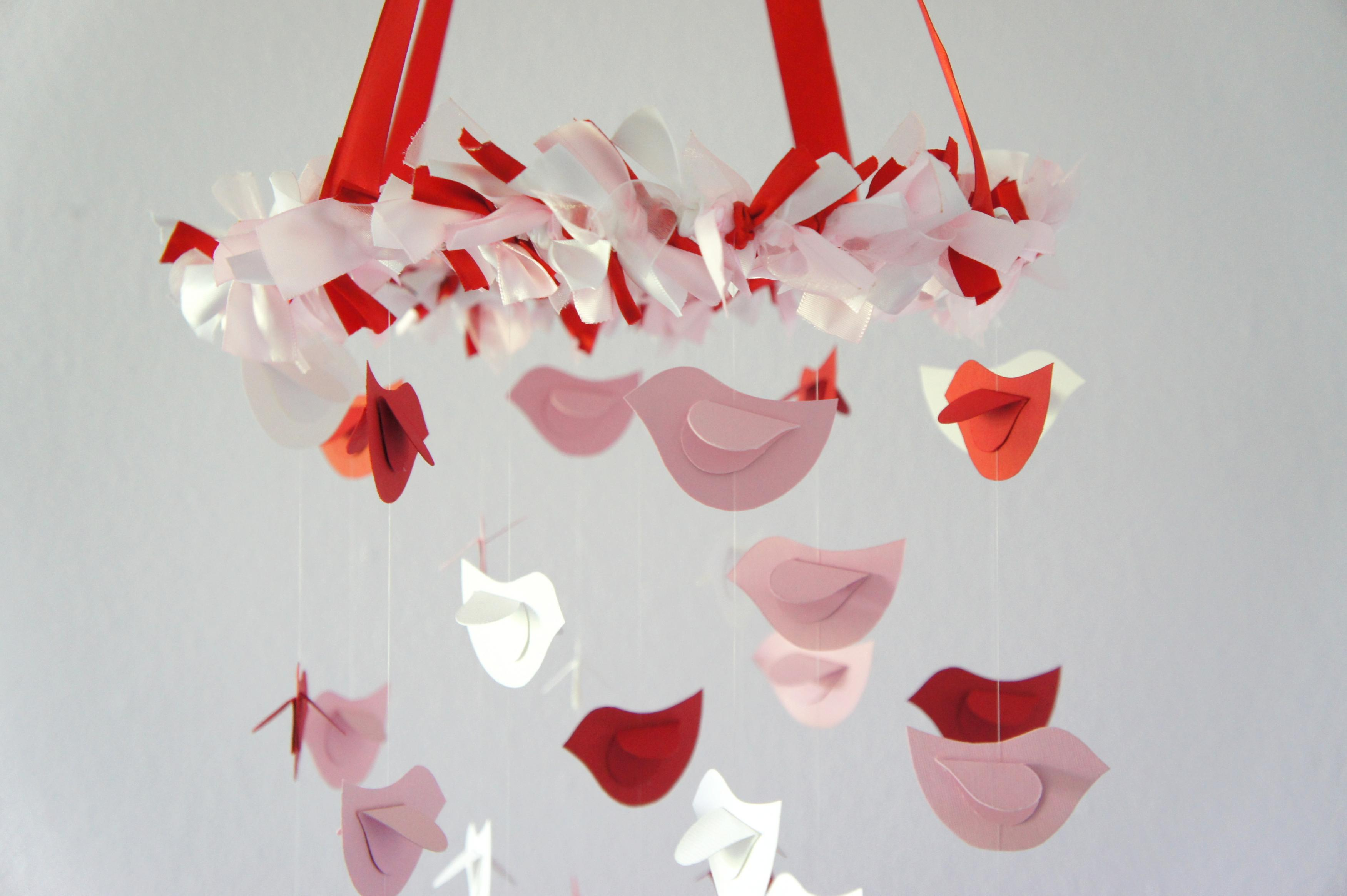 Pink Red White Nursery Mobile Bird Decor Baby Shower Gift